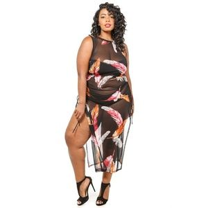 Other - New Plus Feather printed mesh side slit coverup